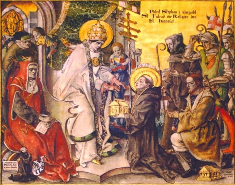 Fulrad erhält von Papst Stephan II die Reliquien von Hyppolit Fresko in der Kirche St. Hyppolite im Elsass
