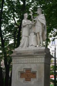 Krakauer Denkmal für Königin Jadwiga und König Jagiello aus dem Jahr 1786.